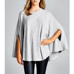 "X ""Beyond the Stars"" Loose Cape Poncho Top Loose cape poncho top with slit armholes. Super soft fabric. Available in grey, red and taupe. This listing is for the GREY. Brand new. True to size. Loose fit. NO TRADES. Bare Anthology Tops"