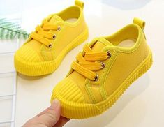 Boys Canvas Shoes Sneakers Girls Tennis Shoes Lace-Up Yellow Sneakers, New Sneakers, Girls Sneakers, Canvas Sneakers, Girls Tennis Shoes, Toddler Girl Shoes, Childrens Shoes, Buy Shoes, Kids Footwear