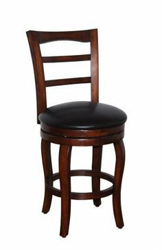 """Faux Leather 24"""" Swivel Barstool in Dark Brown by Kinfine. $74.98. Simple design and comfortable swival barstool. K3776.24 Features: -Wooden frame. Options: -Upholstered in dark brown faux leather. Color/Finish: -Walnut finish. Dimensions: -Seat height: 24''."""