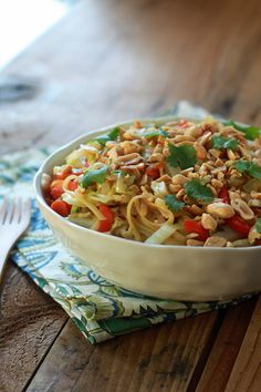 One-Pot Peanut Sesame Noodles & Veggies Nutrition (per serving): Calories: 266; Total Fat: 8g; Saturated Fat: 1g; Monounsaturated Fat: 3g; Cholesterol: 0mg; Sodium: 750mg; Carbohydrate: 41g; Dietary Fiber: 5g;  Sugar: 10g; Protein: 7g