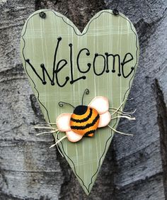 Welcome Heart Sign with Roses and Daisy Wood Door or Wall