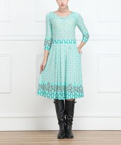 Look at this Reborn Collection Turquoise Geo Drape Neck Dress - Women on #zulily today!