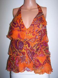 Marciano NWT Size Small Multi Color Silk Halter Top  #Marciano #Halter #EveningOccasion