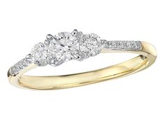 14kt Yellow Gold w/ .25ctw Diamond Engagement Ring, Canadian Diamond Center