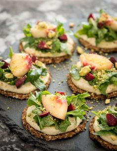 Cracked Pepper Dried Cherry Crackers with Pine Nut Pepper Cream and Nectarine Salad