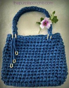 Island Breeze Bag - Free Crochet Pattern - by The Purple Poncho *** Uses T - Shirt Yarn :)