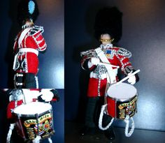 OOAK Irish Guards Drummer scale with hand-painted drum by Jannis Kernert Drums, Irish, Scale, Hand Painted, Painting, Weighing Scale, Irish Language, Drum Kit, Painting Art
