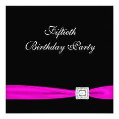 Hot Pink Fuchsia Classy 50th Birthday Party Invitation | Zazzle.com