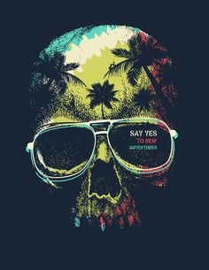 Vector Adventure graphic with a scary skull. Palm trees and sunset. Ps Wallpaper, Skull Wallpaper, Sketch Tattoo Design, Tattoo Sketches, Totenkopf Tattoos, Shirt Print Design, Instagram And Snapchat, Surf Art, Photoshop Design