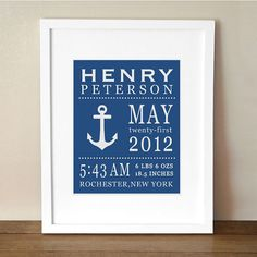 Baby Boy Details 8x10 Print Nautical Anchor by LittleMissMissy, $18.00