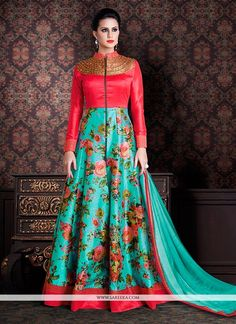 Stand out from rest with this blue banarasi silk anarkali salwar kameez. The…
