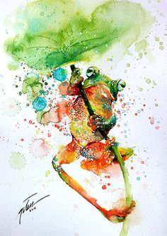 Tree frog • watercolour painting • A4 • 8.3 x 11.7 inches • original painting by tilentiart on Etsy