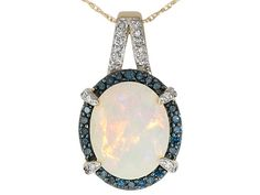 2.12ct Ethiopian Opal 10kt Gold Pendant and Chain with Blue and White Diamond Accents