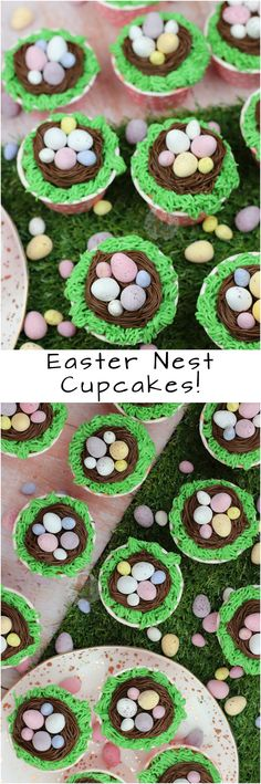 Easy Vanilla Cupcakes with all the Easy Easter Decoration. The Perfect Easter Nest Cupcakes! Easter Deserts, Easter Treats, Easter Food, Easter Peeps, Kid Desserts, Holiday Desserts, Holiday Foods, Holiday Baking, Holiday Treats