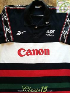 Relive The Sharks' 1999 & 2000 seasons with this original Reebok home rugby shirt. Rugby Shirts, Sharks, Red Green, Reebok, Colorful Shirts, Seasons, Store, Classic, Cotton