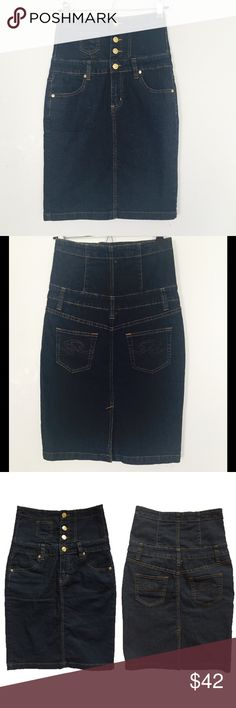 High Waist Denim Skirt This is the cutest high waist denim pencil skirt. Size 1/2 Composition: 52% Ramie, 27% cotton, 18% polyester, 2% spandex. Machine washable. Skirts