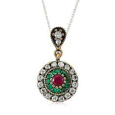 Amazon.com: Ottoman Style Vintage Necklace 925 Sterling Silver Filled , CZ and Emerald stones by Evil Eye Gems (Evil Eye Jewelry) (Ottoman V...