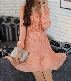 Women's Fairy Princess style spring dress vintage long sleeve chiffon dress Beach skirt pleated dress sundress dress maxi dress  S-XL