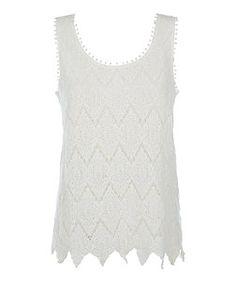 Cream Diamond Crochet Vest  | New Look