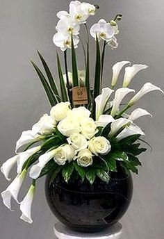 Contemporary Flower Arrangements, Tropical Flower Arrangements, Flower Arrangement Designs, Church Flower Arrangements, Church Flowers, Beautiful Flower Arrangements, Funeral Flowers, Beautiful Flowers, Exotic Flowers