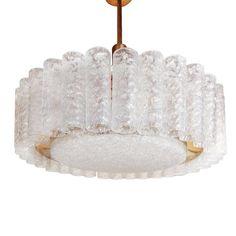 Doria Leuchten Germany Chandelier / Pendant - Doria German Mid-Century Modern Glass, Brass