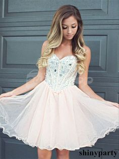 Light Pink Sweetheart Short Prom Dresses, Short Homecoming Dresses