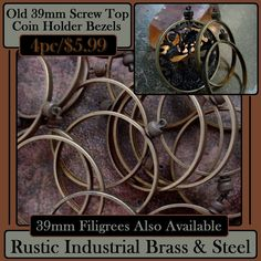 39MM VINTAGE BEZEL SCREW TOP SETTINGS. NATURAL PATINA    Note: 39MM filigree shown for design illustration...not included.    4pc   $5.99    These #old #bezels are from about the 60's.. #MadeInTheUSA    For #coins #discs #filigrees #cabochons, or anything measuring 39mm (1 9/16th inch) round and that have an edge depth (thickness) of 2.5mm (or less)    The hole opening of the screw top is about 2mm    The screw top is strong machined steel     The bezel is 100% pure/solid #brass    I am…
