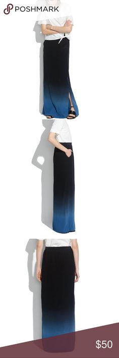 """Madewell silk dip-dye maxi skirt A Madewell artfully faded straight silk skirt with subtle side slits. Size: 12 Maxi. 41 1/2"""" long. Silk. Pockets. Dry clean. Import. Item A5388. New with tags Madewell Skirts Maxi"""