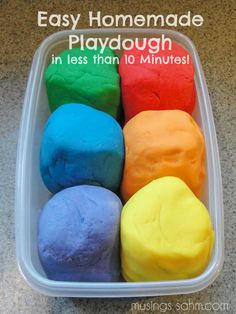 Easy Homemade Playdough recipe. It takes less than 10 minutes to make, is non-toxic, and cheaper than store bought. A great homemade gift and absolute fun for kids all around!