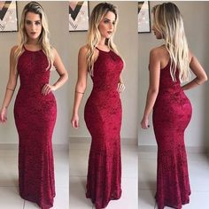 Image may contain: 2 people, people standing Mermaid Prom Dresses, Cheap Prom Dresses, Formal Dresses, Red Wedding Dresses, Burgundy Dress, Lace Dress, Evening Dresses, Fashion Dresses, Color Box