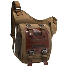 Brand Retro Leather&Canvas Military Army Style Men Messenger Shoulder Crossbody Bag