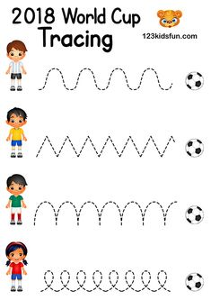 Crafts and Coloring Page: Tracing – Football World Cup Free Worksheets and Activities for Kids. Preschool Themes, Preschool Worksheets, Writing Worksheets, Preschool Activities, Free Worksheets, Camping Activities, Sports Activities For Kids, Classroom Activities, World Cup Kits