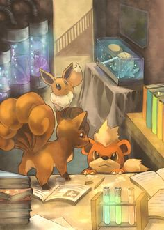 3 of my favorite Pokémon! Growlithe, Vulpix, and Eevee!!!