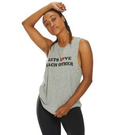 Spiritual Gangster Womens Love Other Muscle Tank Top - Medium Heather Grey Small Cotton