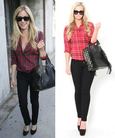 Pair a plaid shirt with skinny jeans and pumps for a casual, cool look. Repin if you would wear this #outfit!