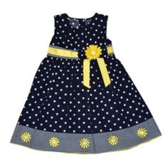 Blueberi Boulevard Daisy Dot Dress - Toddler Girl