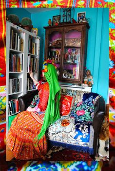 Artist Lally MacBeth's colourful Cornish home #interiordesign #artists #homes #retro #vintage #sittingrooms #livingrooms #colorful #colourful #homedecor #LallyMacBeth For more artists' homes visit www.ompomhappy.com This picture is an artwork titled 'Saints Alive'
