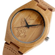 Cheap watch hub, Buy Quality watches sea directly from China watches header Suppliers: High Quality Handmade Moose Elk Deer Head Watches Natural Wooden Bamboo Clock Quartz Watches Men Women Hot Gifts Reloj de madera Wooden Watch, Watches For Men, Men's Watches, Leather Fashion, Real Leather, Bamboo, Clock, Cool Stuff, Hot