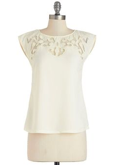 Pottery Date Top in Ivory - White, Short Sleeve, Sheer, Woven, Cream, Solid, Wedding, Work, Daytime Party, Cap Sleeves, Spring, Mid-length