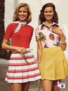 My friend Ann and I had very similar outfits in 1970. Stretchy nylon tops and crimplene skirts...worn with coloured pop socks. A symphony in static!