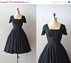25% OFF SALE...... Hidden Heart silk dress / vintage 50s dress / black silk 1950s dress on Etsy, $201.00