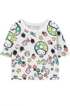 White Short Sleeve Crop Mushroom Cat T-Shirt