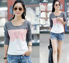 FREE SHIPPING kocrean 2013 new striped patchwork cotton O-neck casual women Hedging T-shirt  X152 $11.90