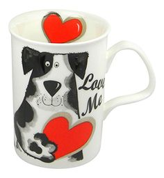 Love Me Dog Mug - A bone china mug, with sweet Valentine's Day style.  Your favorite dog lover will adore it!