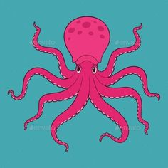 Purple Cartoon Octopus