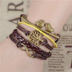 Vintage Infinity Anchor Hook Artificial Leather Bracelet Steering-Wheel Bracelets & Bangles Jewelry