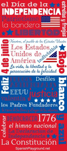 4th of July activities for kids: Spanish poster with Spanish words and Spanish phrases for Independence Day. Great for discussions, and the post contains English and Spanish vocabulary for matching activity. http://spanishplayground.net/poster-spanish-phrases-independence-day/