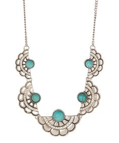 Look what I found on #zulily! Turquoise Magnesite & Silvertone Half Moon Necklace by Pavcus Designs #zulilyfinds