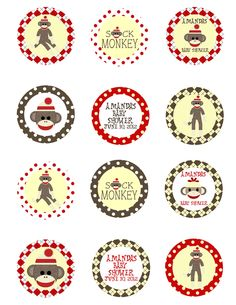 Sock Monkey Baby Shower 2 Party Circles Favor by DDHFavors04974