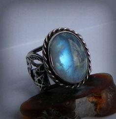 Venus Favor Swinging on a Star Moonbeams in a Jar Rainbow moonstone set in sterling silver (so pretty!)